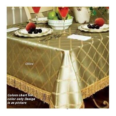 Violet Linen Diamond Damask Design Fringes Tablecloth