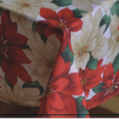 European Christmas PoinSettia Floral Design Tablecloth