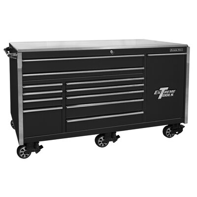 Extreme Tools 12 Drawer Professional Roller Cabinet in Black