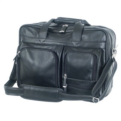 Mercury Luggage Sondrio Leather Multi-Pocket Attache in Black