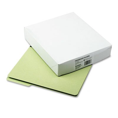 S J Paper Pressboard File Folders, 1/3 Cut, Top Tab, Letter, Green, 25/Box
