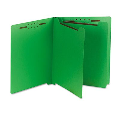 S J Paper Six-Section End Tab Classification Folders, Pressboard, Letter, 25/Box, Green