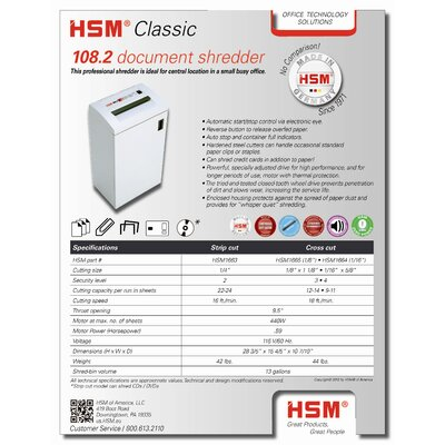 HSM of America,LLC HSM Classic 108.2, 22-24 sheets, strip-cut, 13 gal. capacity