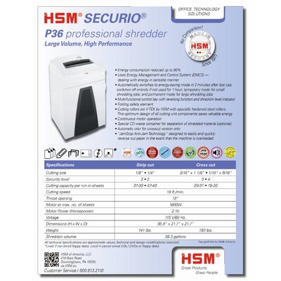 HSM of America,LLC Securio P36c, 29-31sheet, cross-cut, 38.3 gal. capacity
