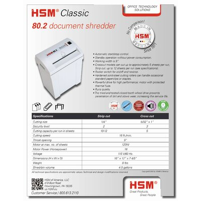 HSM of America,LLC HSM 80.2, 10-12 sheet, strip-cut, 4.5 gal. capacity