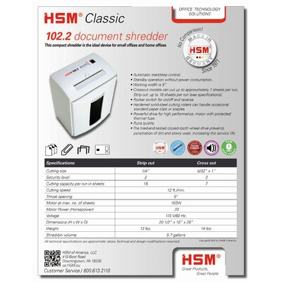 HSM of America,LLC HSM 102.2c, 6-7 sheet, cross-cut, 5.7 gal. capacity