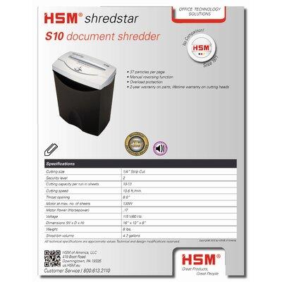 HSM of America,LLC Shredstar S10, 10 sheet, strip-cut, 4.3 gal. capacity