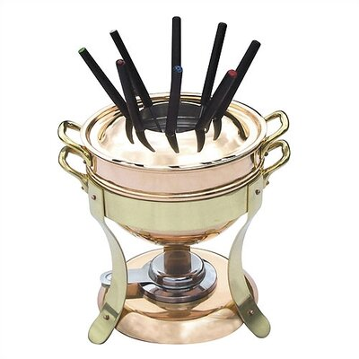 Mauviel M'tradition Cupretam Tinned Copper Fondue Set with Bronze Handles