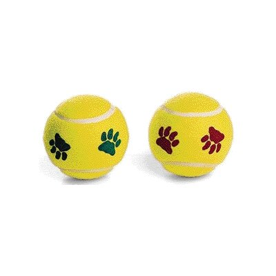Ethical Pet Pawprint Tennisball Dog Toy (2 Pack)