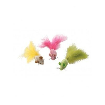 Ethical Pet Plush Fantastic Feathers Mouse Cat Toy