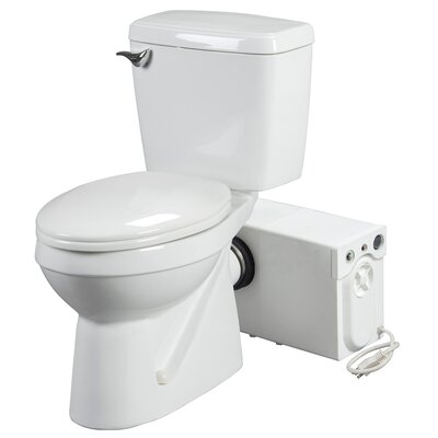 Bathroom Anywhere 1.6 GPF Elongated Rear Discharge 2 Piece Toilet with Macerator System