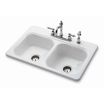 "Bootz 33"" x 22"" Garnet II Self-Rimming Double Bowl Kitchen Sink with Four Holes"