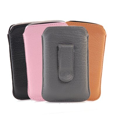 Gut Cases Blackberry Bold Slim Leather Pouch with Clip in Tan