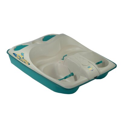 KL Industries Sun Dolphin Three Person Pedal Boat in Cream / Teal with Stainless Steel Package