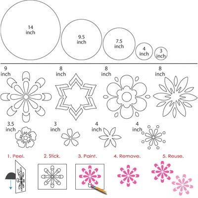 My Wonderful Walls Dots and Daisies Wall Stencil Kit