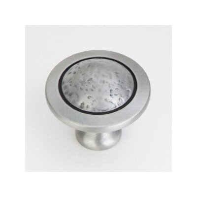 Hammered Centre Round Cabinet Knob in Satin Nickel