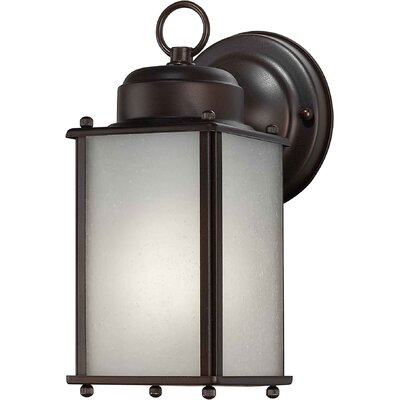 Forte Lighting 4.5&quot; One Light Outdoor Wall Lantern with Frosted Glass