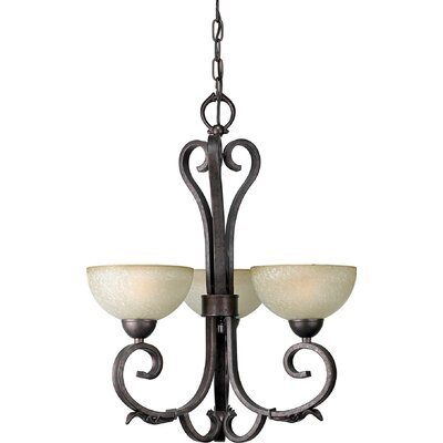 Forte Lighting 3 Light Chandelier with Umber Mist Shades