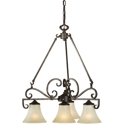 Forte Lighting 4 Light Chandelier with Umber Mist Shade