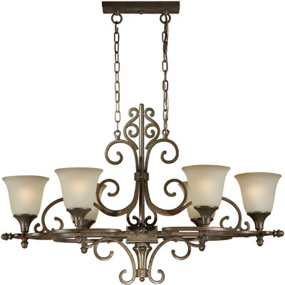 Forte Lighting 6 Light Chandelier with Umber Shades