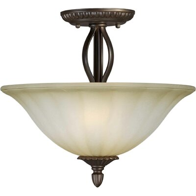 Forte Lighting 2 Light Semi Flush Mount - Umber Mist Glass Shade