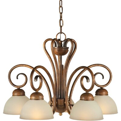 Forte Lighting 5 Light Chandelier with Umber Shades