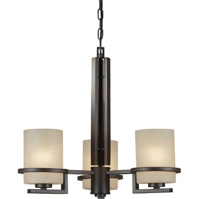 Forte Lighting 3 Light Chandelier with Umber Linen Shade