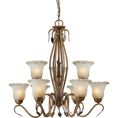 9 Light Chandelier with Umber Ice Glass Shades
