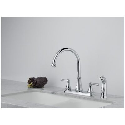 Lewiston Two Handle Centerset Kitchen Faucet with Spray