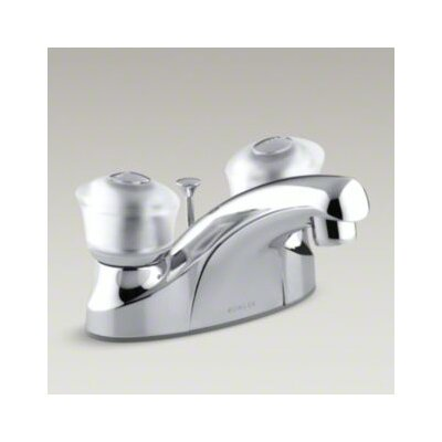 Coralais Centerset Lavatory Faucet with Sculptured Acrylic Handles, Pop-Up Drain and Lift Rod - ...