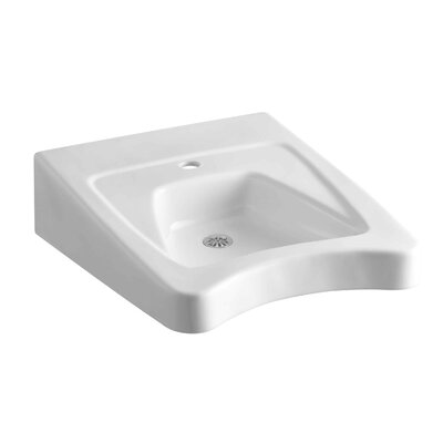 "Kohler Morningside 20"" X 27"" Wall-Mount/Concealed Arm Carrier Wheelchair Bathroom Sink with Single Faucet Hole"