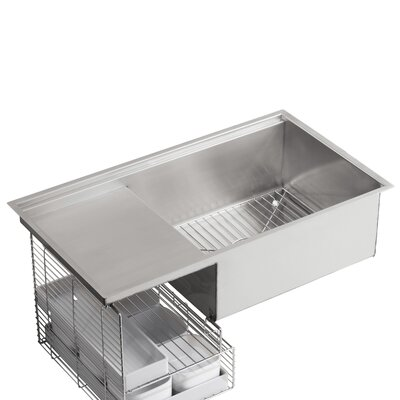 "Kohler Stages 33"" X 18-1/2"" X 9-13/16"" Under-Mount Single-Bowl with Wet Surface Area Kitchen Sink"