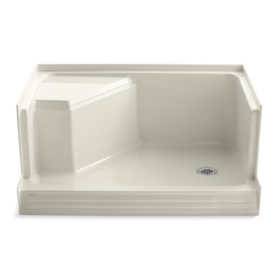 "Kohler Memoirs 48"" Shower Receptor with Integral Seat at Left and Right-Hand Drain"