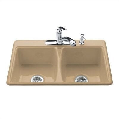 Kohler Deerfield Self Rimming Kitchen Sink in Mexican Sand with Four Hole Faucet Drilling