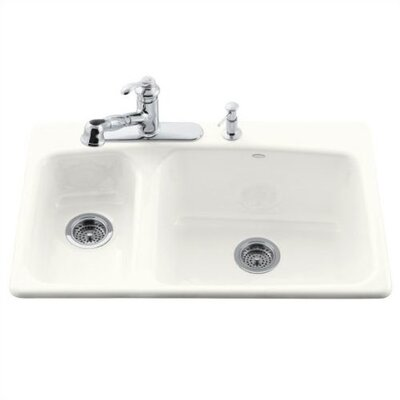 Kohler Lakefield Self Rimming Kitchen Sink in White with Four Hole Faucet Drilling