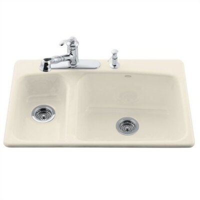 "Kohler Lakefield 33"" x 22"" Self Rimming Kitchen Sink with 4 Faucet Holes"