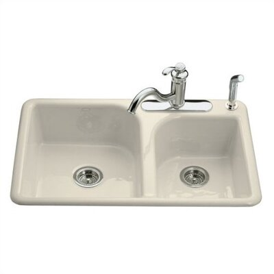 Kohler Efficiency Self-Rimming Kitchen Sink in Almond with Four Hole Faucet Drilling