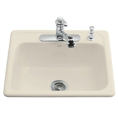 Kohler Mayfield Self Rimming Kitchen Sink in Almond with Single Hole Faucet Drilling