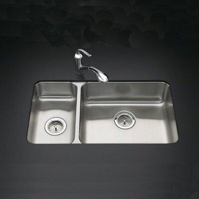 "Kohler Undertone 31-1/2"" X 18"" X 7-5/8"" Under-Mount High/Low Double-Bowl Kitchen Sink"