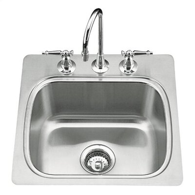 "Kohler Verse 20"" X 20"" X 8-1/4"" Top-Mount Single-Bowl Bar Sink with 3 Faucet Holes"