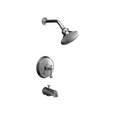 Kohler Revival Rite-Temp Pressure-Balancing Bath and Shower Faucet Trim with Traditional Lever Handle and Standard Showerarm and Flange