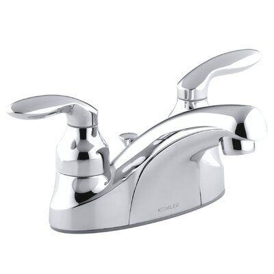 Coralais Centerset Lavatory Faucet with Lever Handles, Pop-Up Drain and Lift Rod - P15241-4D