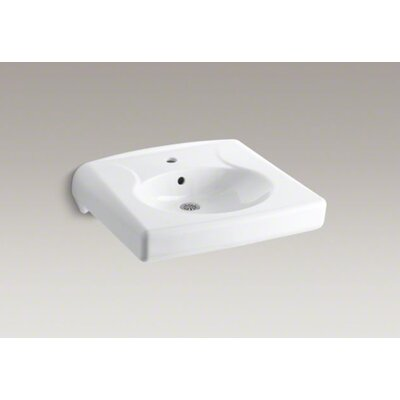 Kohler Brenham Wall-Mounted or Concealed Carrier Arm Mounted Commercial Bathroom Sink with Single Faucet Hole