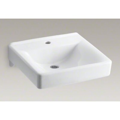 "Kohler Soho 20"" X 18"" Wall-Mount/Concealed Arm Carrier Bathroom Sink with Single Faucet Hole"