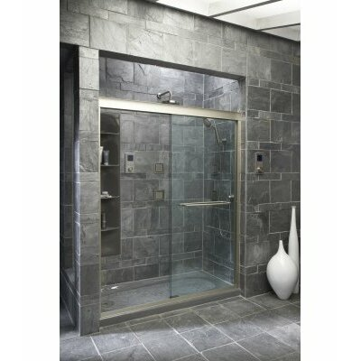 "Kohler Fluence Frameless Sliding Shower Door with 0.37"" Thick Crystal Clear Glass, 56.62"" - 59.62"" x 75"""