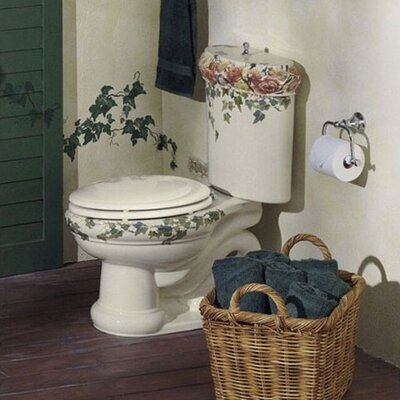 Kohler Peonies & Ivy Design On Revival Two-Piece Elongated 1.6 Gpf Toilet with Ingenium Flush Technology and Top Actuator