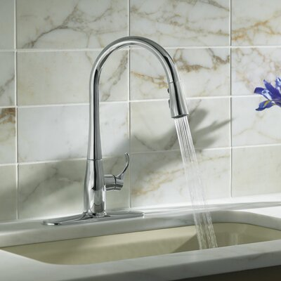 Kohler Simplice Single Hole Or Three Hole Kitchen Sink Faucet With 16 5 8 Quot Pull Down Spout