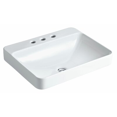 "Kohler Vox Rectangle Vessels with Faucet Deck and 8"" Centers"