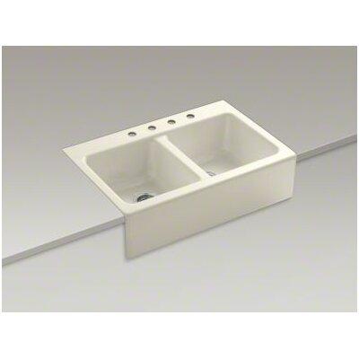 Apron Sink With Faucet Holes : ... Apron-Front Tile-In Double-Equal Kitchen Sink with 4 Faucet Holes
