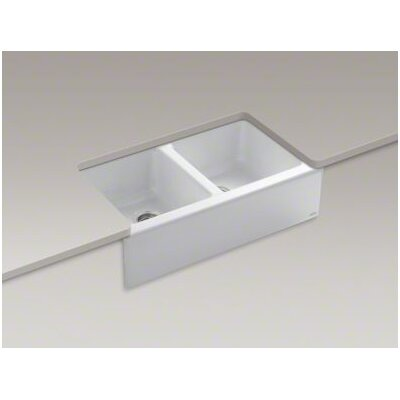 "Kohler Hawthorne 33"" X 22-1/8"" X 8-3/4"" Apron-Front Under-Mount Double-Equal Kitchen Sink with 4 Oversize Faucet Holes"